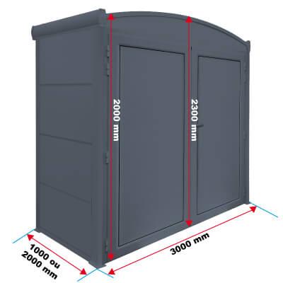 Dimensions de l'abri de rangement cintré priximbattable
